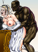 Big black dude fucking with two white sexy blondes in turn